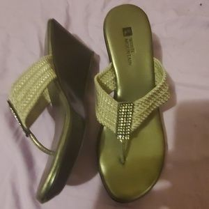 white mountain  Glittery crystal wedge sandal 6